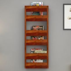 Alnus Magazine Rack (Honey Finish)