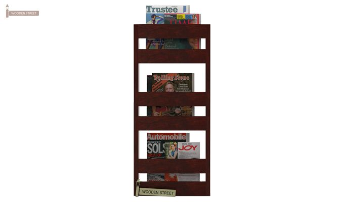 Alnus Magazine Rack (Mahogany Finish)-1