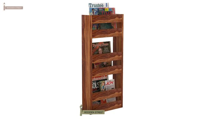 Alnus Magazine Rack (Teak Finish)-1