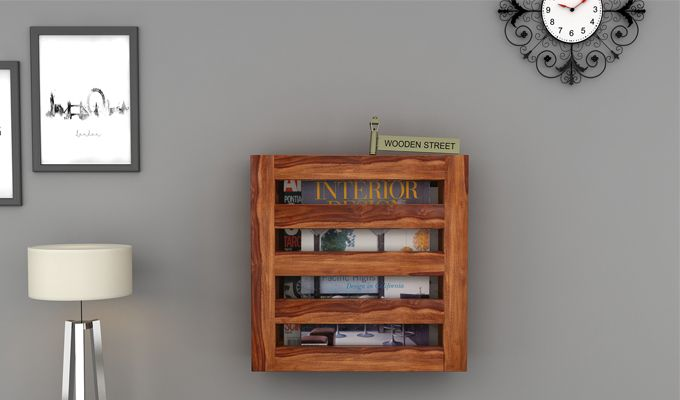 Davi Magazine Rack (Teak Finish)-1