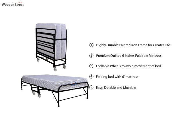Folding Rollaway Bed with Mattress (6 inch, Single, 75 x 36)-6