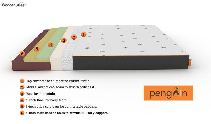 Penguin Motif 6 inch Soft Memory Foam King Size Luxury Mattress (King Size,Steel Grey)-8