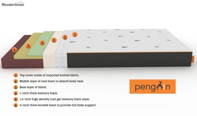 Penguin Motif 6 inch Soft Memory Foam Single Size Luxury Mattress (Steel Grey)-6