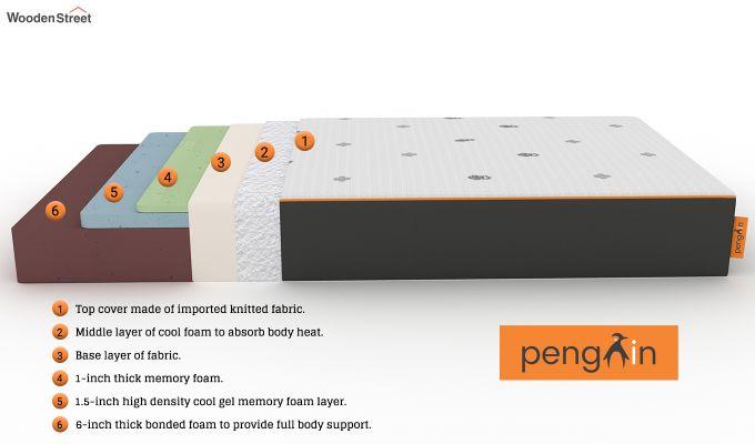 Penguin Motif 8 inch Cool Gel Memory Foam Single Size Luxury Mattress (Steel Grey)-6