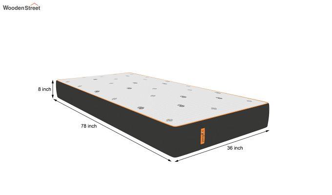 Penguin Motif 8 inch Cool Gel Memory Foam Single Size Luxury Mattress (Steel Grey)-8