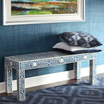 Silo Mother of Pearl Bench (Blue Color)