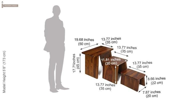 Flux Nest Of Tables (Teak Finish)-7