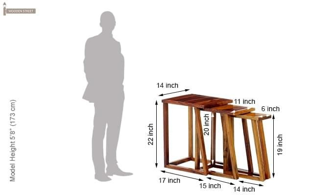 Heslov Nest of Tables (Teak Finish)-9