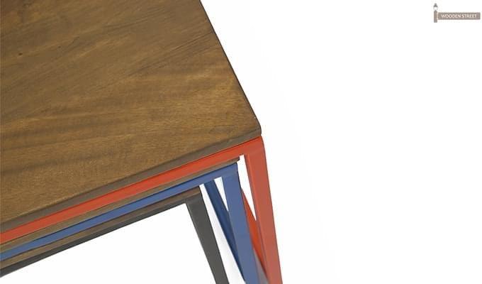 Trott Iron Nest Of Tables (Teak Finish)-9