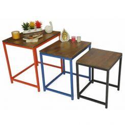 Trott Iron Nest Of Tables (Teak Finish)