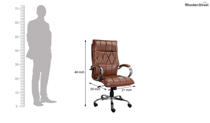 Camelo Krita Leatherette High Back Brown Executive Chair-5