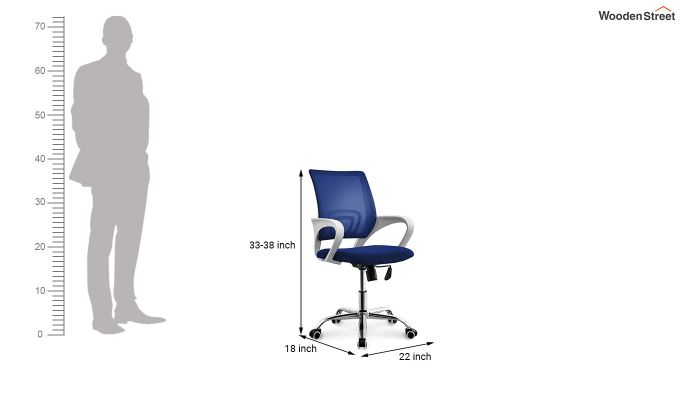Terra Blue Mesh Revolving Office Chair-5