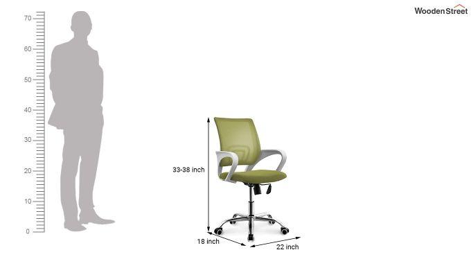 Terra Olive Green Mesh Revolving Office Chair-4