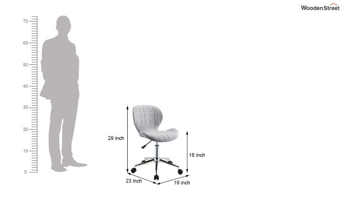 Height-Adjustable Fabric Office Task Chair (Grey)-6
