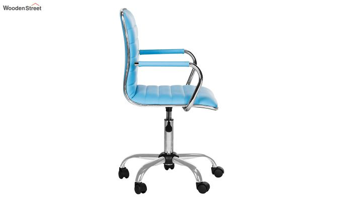 Height-Adjustable Faux-Leather Arm Conference Office Desk Chair (Blue)-2