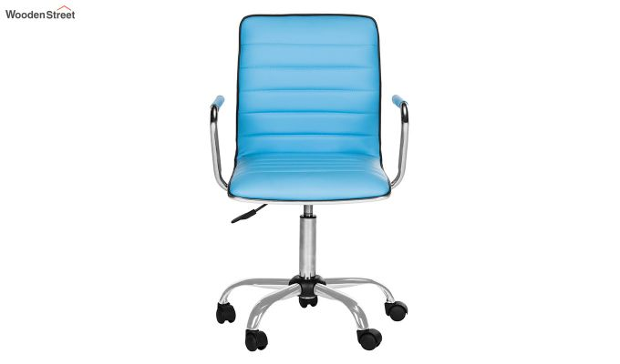 Height-Adjustable Faux-Leather Arm Conference Office Desk Chair (Blue)-3