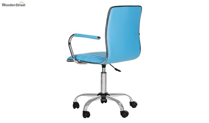 Height-Adjustable Faux-Leather Arm Conference Office Desk Chair (Blue)-4