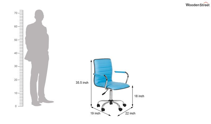 Height-Adjustable Faux-Leather Arm Conference Office Desk Chair (Blue)-5