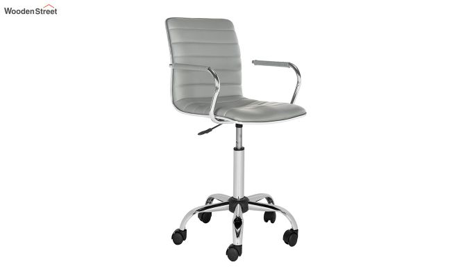 Height-Adjustable Faux-Leather Arm Conference Office Desk Chair (Grey)-2