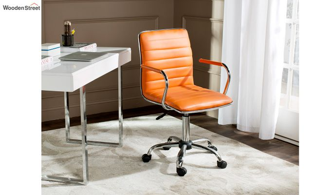 Height-Adjustable Faux-Leather Arm Conference Office Desk Chair (Orange)-1