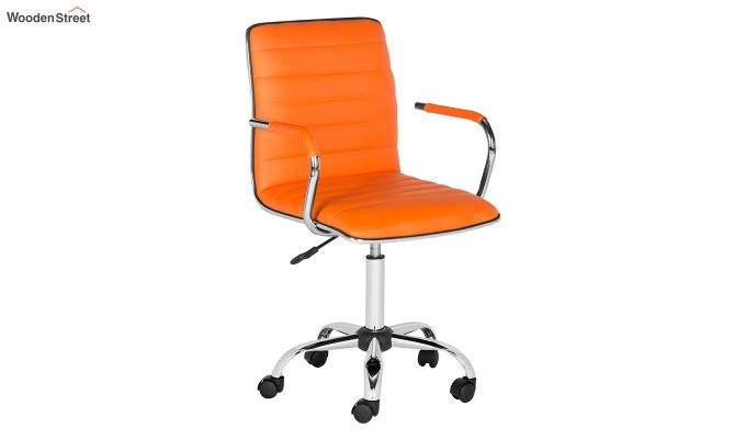 Height-Adjustable Faux-Leather Arm Conference Office Desk Chair (Orange)-2