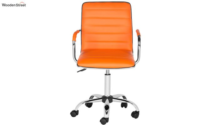 Height-Adjustable Faux-Leather Arm Conference Office Desk Chair (Orange)-3