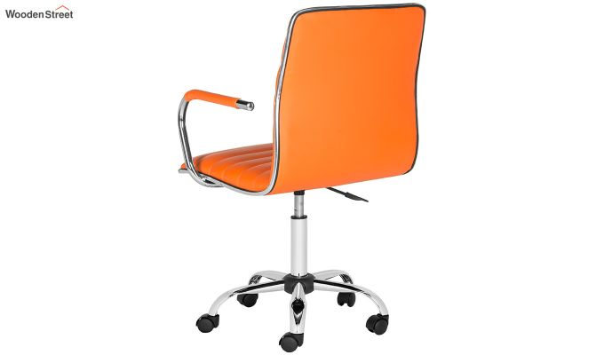 Height-Adjustable Faux-Leather Arm Conference Office Desk Chair (Orange)-4