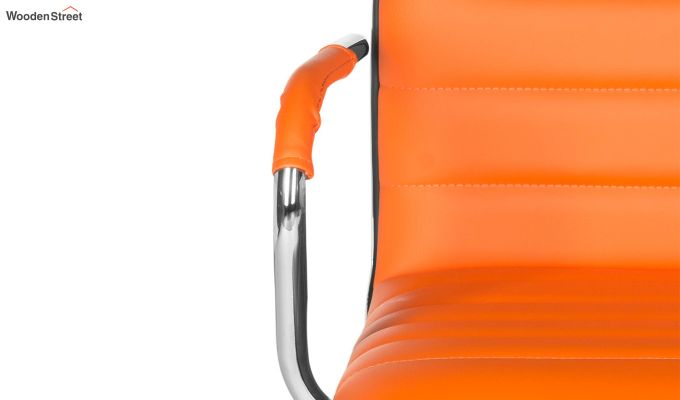 Height-Adjustable Faux-Leather Arm Conference Office Desk Chair (Orange)-5