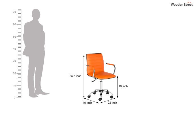 Height-Adjustable Faux-Leather Arm Conference Office Desk Chair (Orange)-6