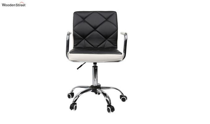 Height-Adjustable Mid-Back Faux-Leather Arm Office Desk Chair (Black & White)-1