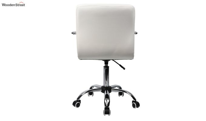 Height-Adjustable Mid-Back Faux-Leather Arm Office Desk Chair (Black & White)-3