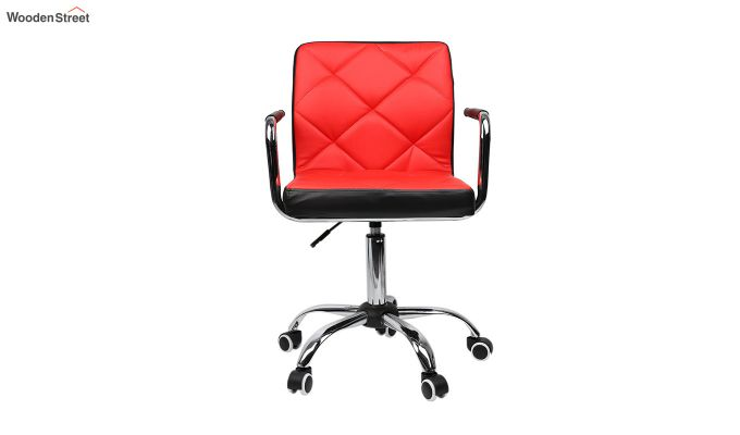 Height-Adjustable Mid-Back Faux-Leather Arm Office Desk Chair (Red & Black)-1