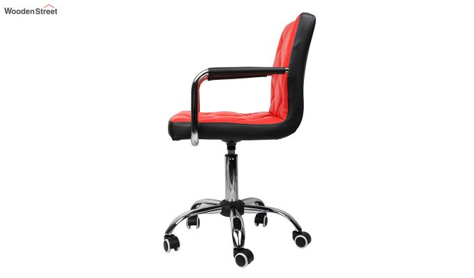 Height-Adjustable Mid-Back Faux-Leather Arm Office Desk Chair (Red & Black)-2