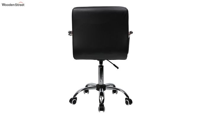 Height-Adjustable Mid-Back Faux-Leather Arm Office Desk Chair (Red & Black)-4