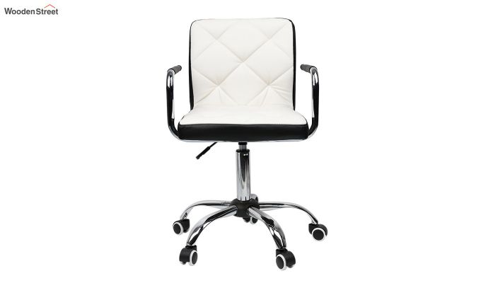 Height-Adjustable Mid-Back Faux-Leather Arm Office Desk Chair (White & Black)-1