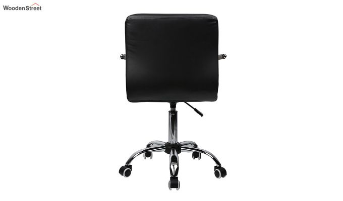 Height-Adjustable Mid-Back Faux-Leather Arm Office Desk Chair (White & Black)-3