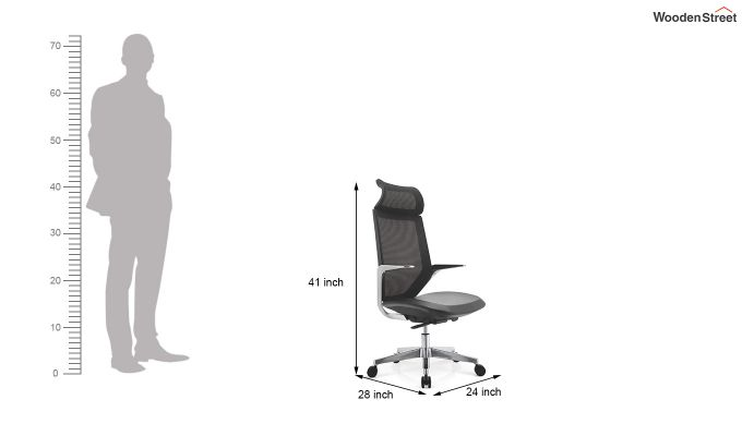 High Back Office Mesh Chair (Black)-7