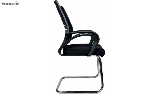 Low Back Fabric and Mesh/Net Visitor Chair (Black)-2