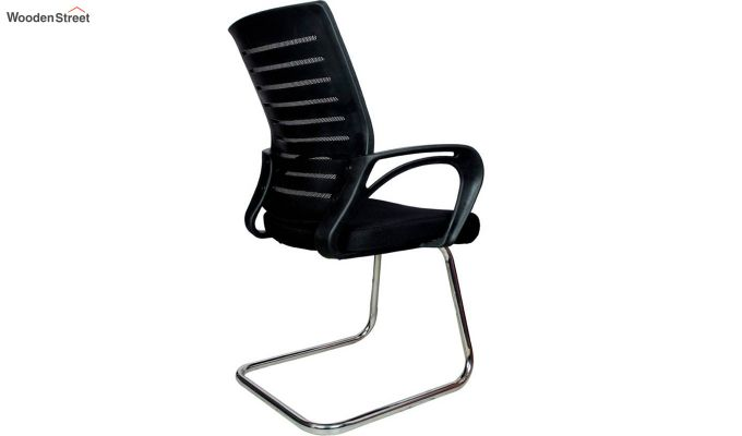 Low Back Fabric and Mesh/Net Visitor Chair (Black)-3