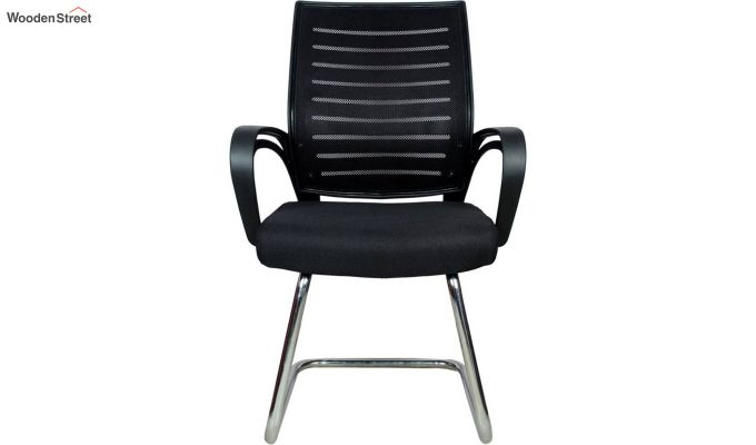 Low Back Fabric and Mesh/Net Visitor Chair (Black)-4