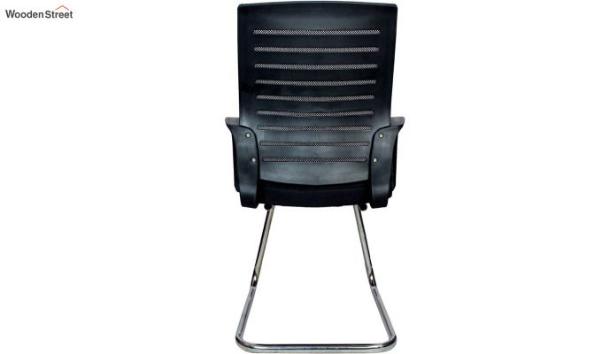 Low Back Fabric and Mesh/Net Visitor Chair (Black)-5