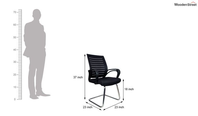 Low Back Fabric and Mesh/Net Visitor Chair (Black)-6