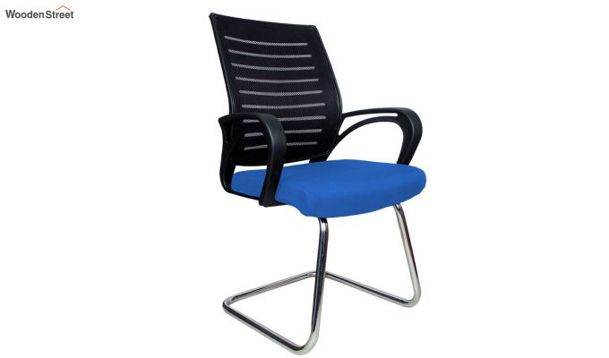 Low Back Fabric and Mesh/Net Visitor Chair (Blue)-1