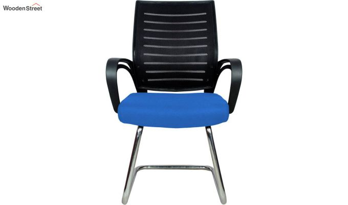 Low Back Fabric and Mesh/Net Visitor Chair (Blue)-2