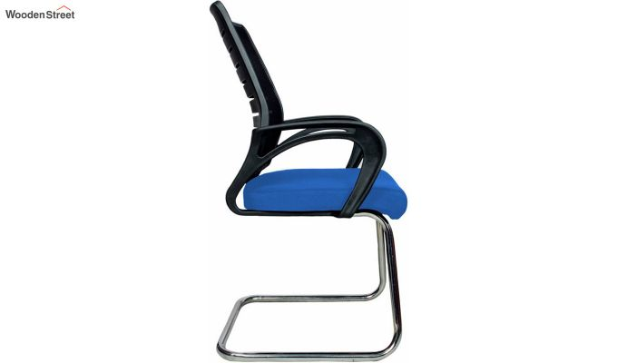 Low Back Fabric and Mesh/Net Visitor Chair (Blue)-3