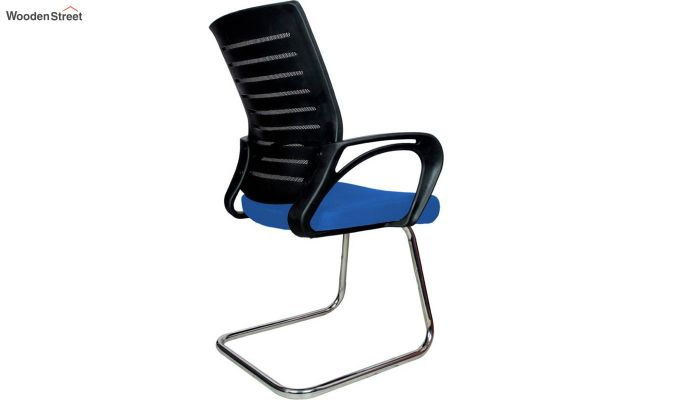 Low Back Fabric and Mesh/Net Visitor Chair (Blue)-4
