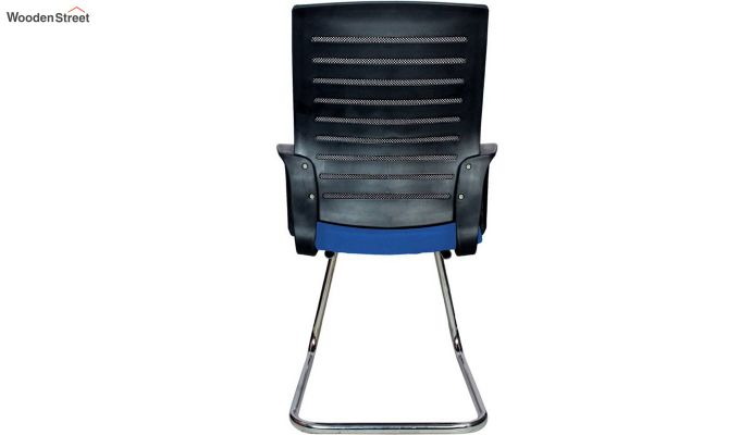 Low Back Fabric and Mesh/Net Visitor Chair (Blue)-5