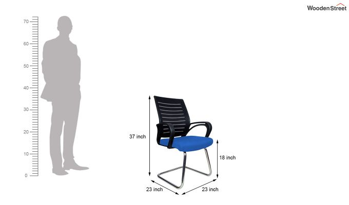 Low Back Fabric and Mesh/Net Visitor Chair (Blue)-7