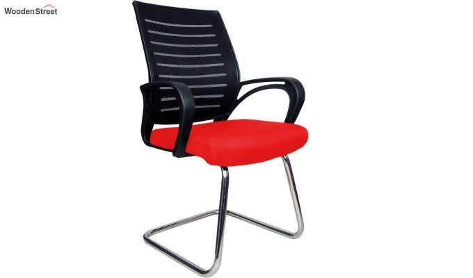 Low Back Fabric and Mesh/Net Visitor Chair (Red)-1