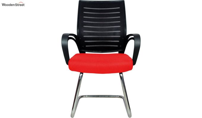 Low Back Fabric and Mesh/Net Visitor Chair (Red)-2